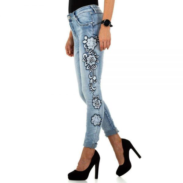 Jeans seitliche Blumenborte