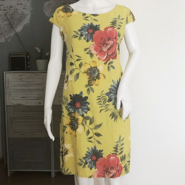 Leinenkleid grosse Blume gelb