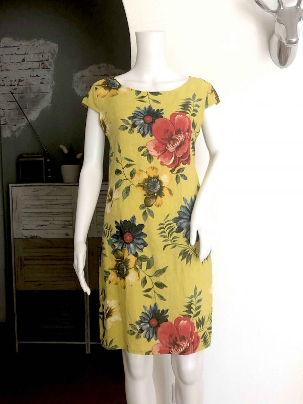 Leinenkleid Blume gelb vorne