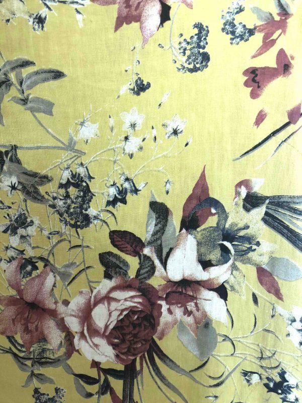 Leinenkleid rose gelb Detail