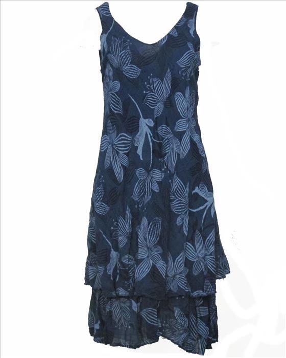 Sommerkleid Stufen dunkelblau