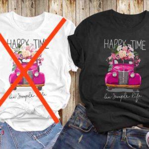 süsses Sommershirt kurzarm mit einem Autoaufdruck in Pink mit dem Titel Happy Time