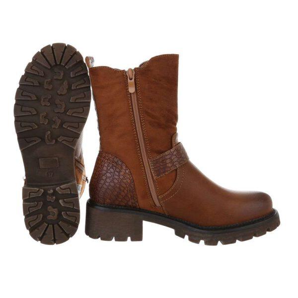Ansicht der Sohle und Fußform, Stiefeletten mit Riechen vorne, Farbe cognac
