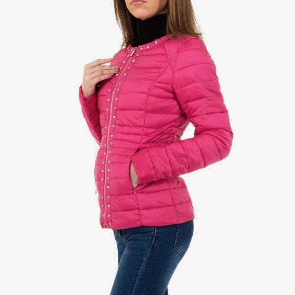Schöne, auffallende Steppjacke, mittlerer Länge in pink