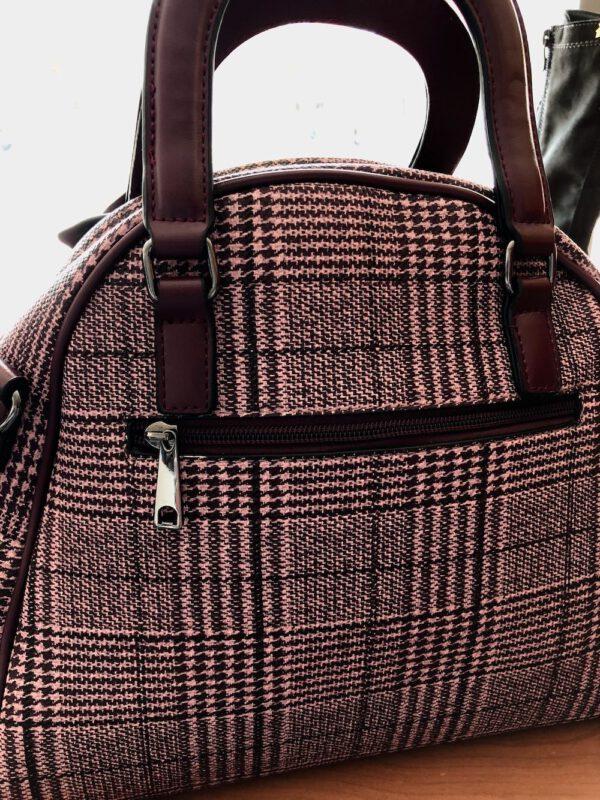 Karierte Handtasche in bordeaux, auch als Schultertasche tragbar