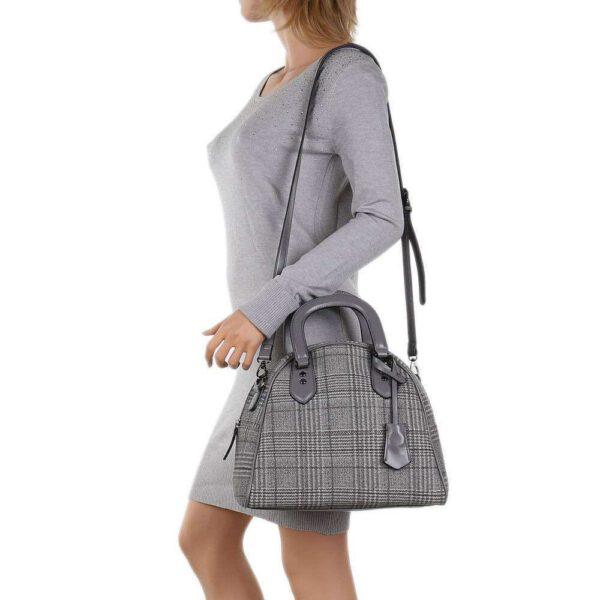 Businesstasche mit langem Riemen für die Schulter, grau, kariert