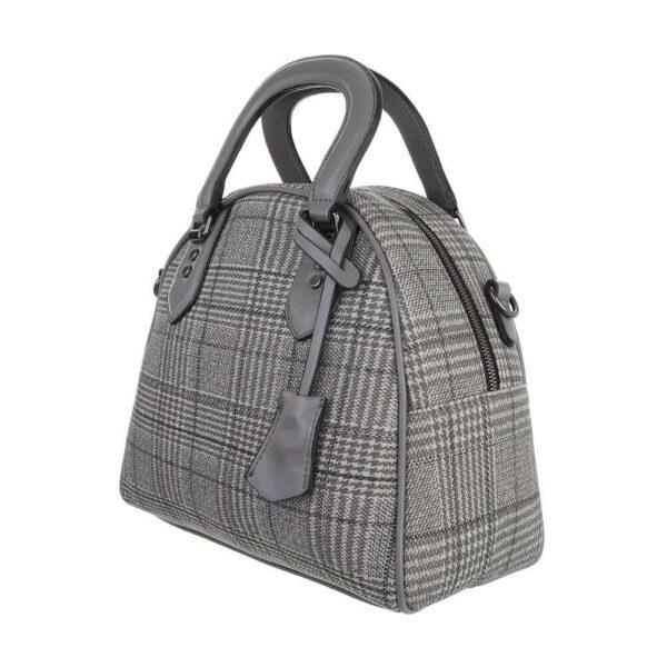 Seitenansicht mit Reißverschluss, Handtasche, mittelgross grau kariert