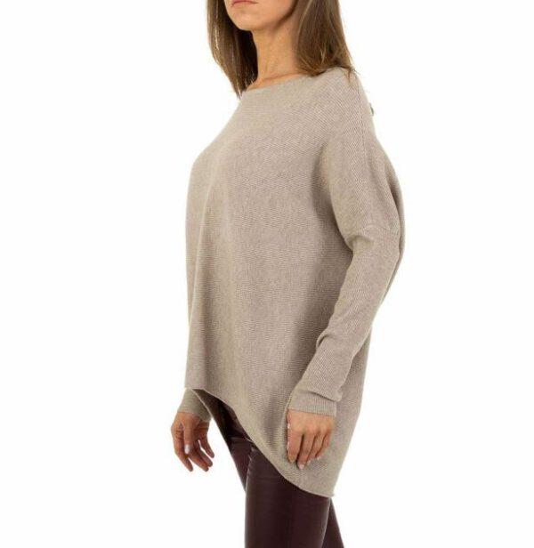 Schöner langer Rippenstrickpulli Viscose/Polyester, beige, Seitenansicht