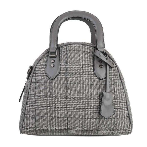 Vorderansicht von der hübschen graukarierten Handtasche