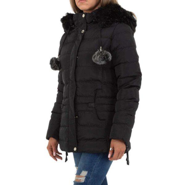 Hüftlange schöne schwarze Winterjacke mit Kapuze und Kunstpelz